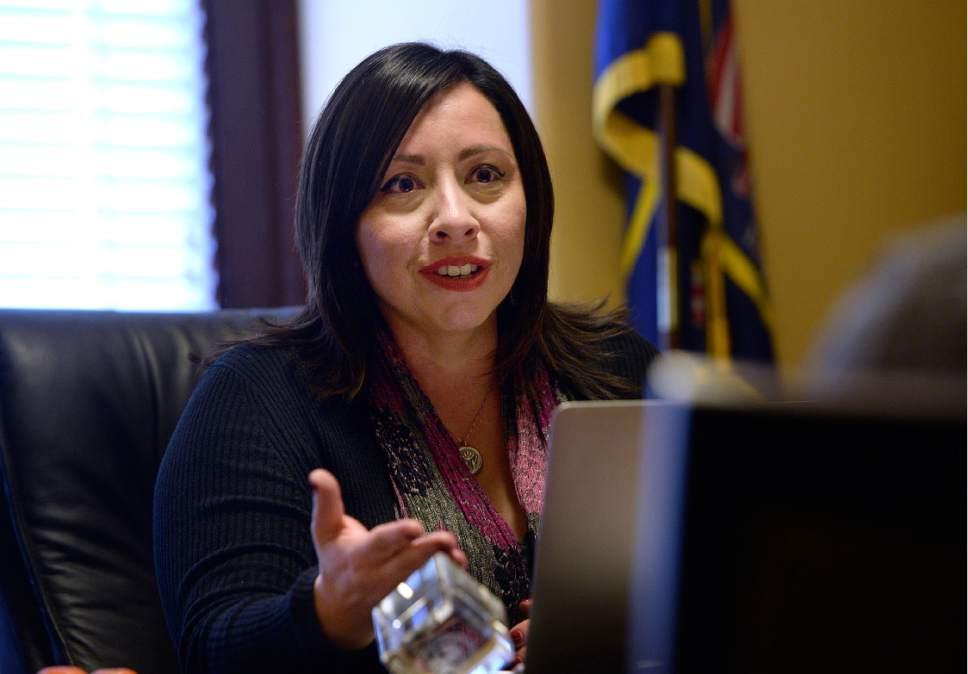 Scott Sommerdorf   |  The Salt Lake Tribune   Rep. Angela Romero, D-Salt Lake, speaks in her office about her bill, HB200, Wednesday, January 25, 2017.
