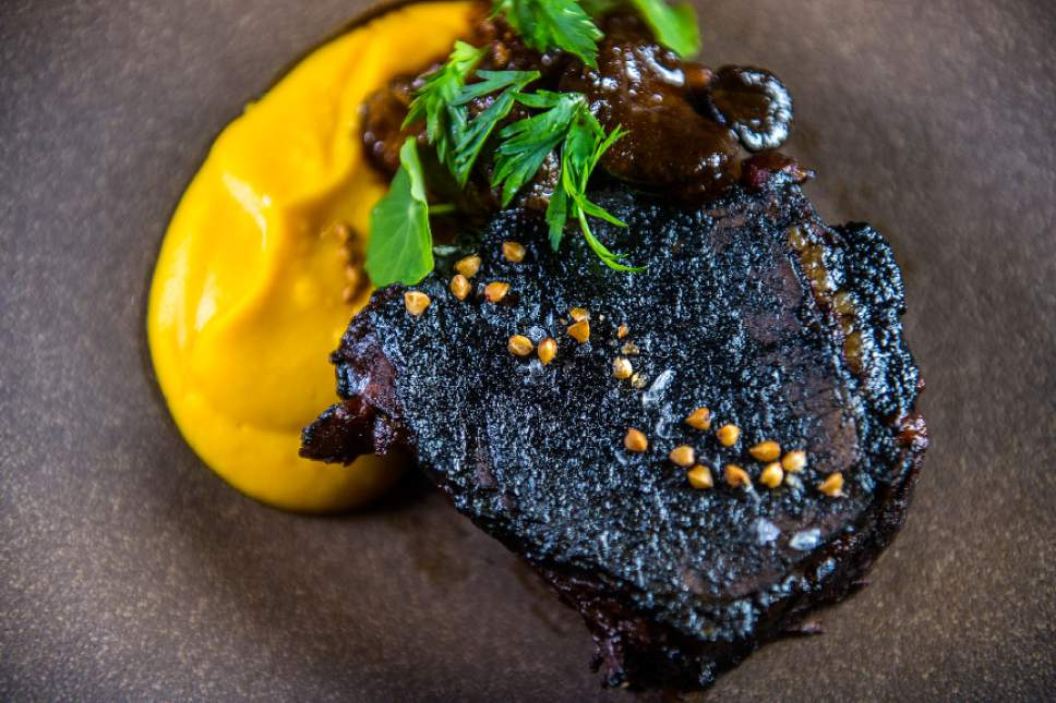 Chris Detrick  |  The Salt Lake Tribune Jones Creek braised beef short rib with oyster mushrooms, carrot and black garlic jam ($28) at Table X in Millcreek.
