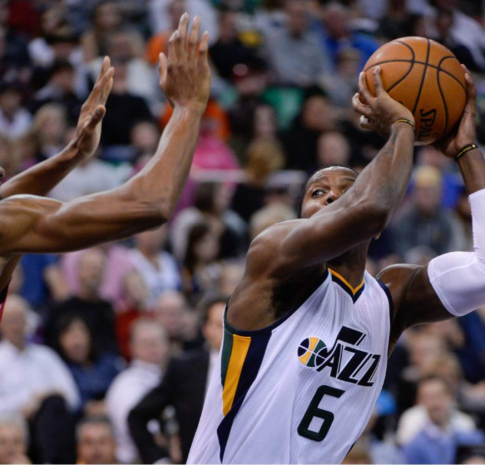 Francisco Kjolseth | The Salt Lake Tribune Utah Jazz forward Joe Johnson (6) looks for an opening as the Jazz host the LA Clippers in game action at the Vivint Smart Home Arena on Monday, Oct. 17, 2016.