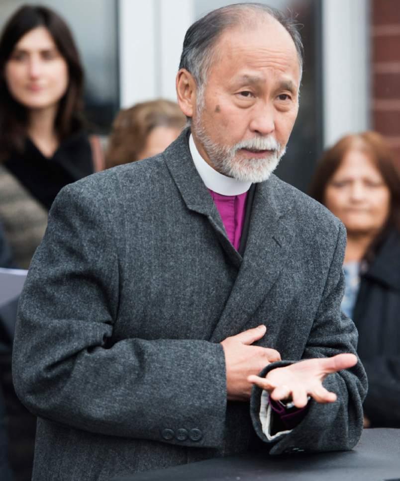 Rick Egan  |  The Salt Lake Tribune  The Rt. Rev. Scott B. Hayashi speaks during a news conference at The Road Home Midvale Center on Thursday, Feb. 2, 2017.