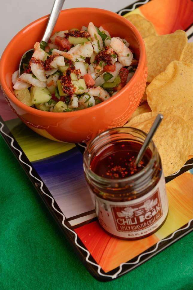 Francisco Kjolseth | The Salt Lake Tribune Chili Beak ceviche by Jason MClure, co-founder of Chili Beak Spicy Roasted Chili Oil.