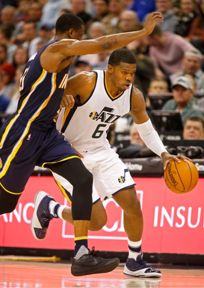 32874385f98 Utah Jazz forward Joe Johnson (6) drives past Indiana Pacers forward  Thaddeus Young,