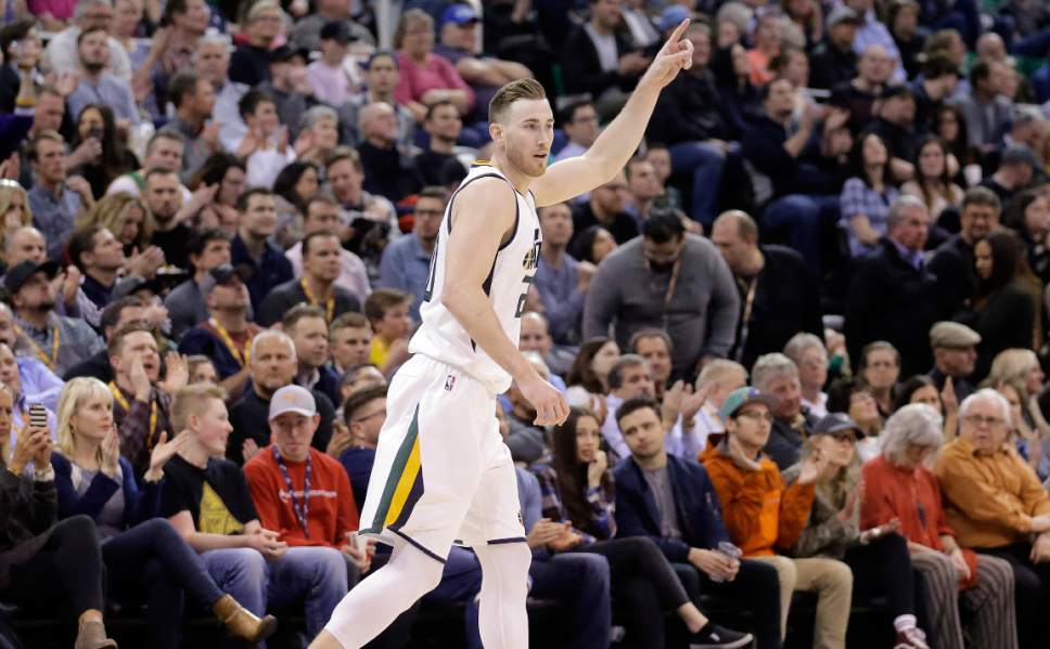 79e6c5fdaf5 Utah Jazz forward Gordon Hayward runs up court after scoring a 3-pointer  against the. Steve Griffin / The Salt Lake ...