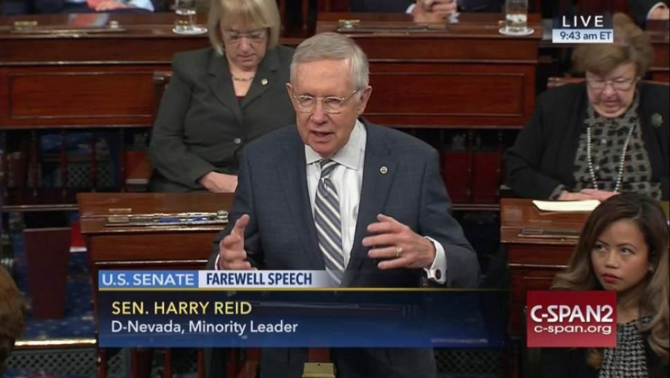 This image provided by C-SPAN2 shows retiring Senate Minority Leader Harry Reid of Nev. giving his final speech on the Senate floor on Capitol Hill in Washington, Thursday, Dec. 8, 2016. (C-SPAN2 via AP)