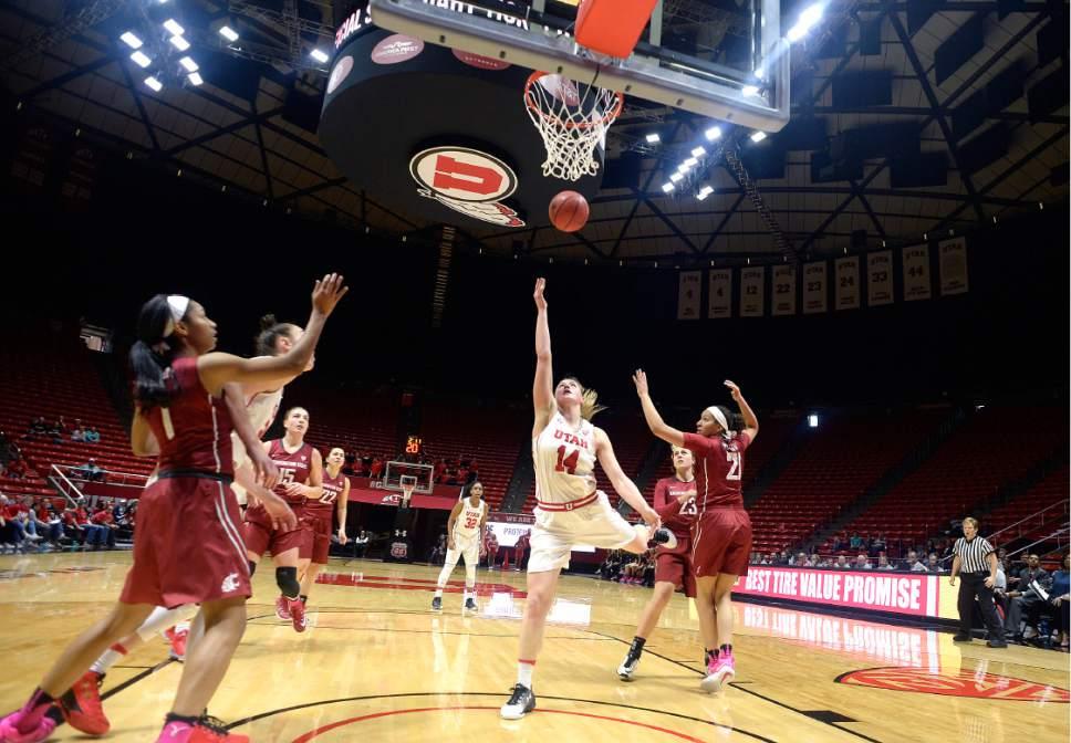 Scott Sommerdorf   |  The Salt Lake Tribune   Utah Utes guard Paige Crozon (14) drives and shoots during second half play. Washington State beat Utah 61-55, Sunday, February 5, 2017.