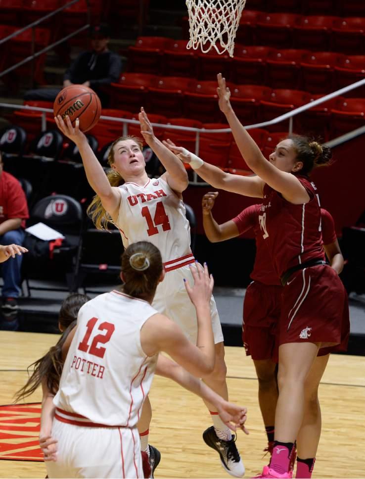 Scott Sommerdorf   |  The Salt Lake Tribune   Utah Utes guard Paige Crozon (14) shoots during first half play as Washington State beat Utah 61-55, Sunday, February 5, 2017.