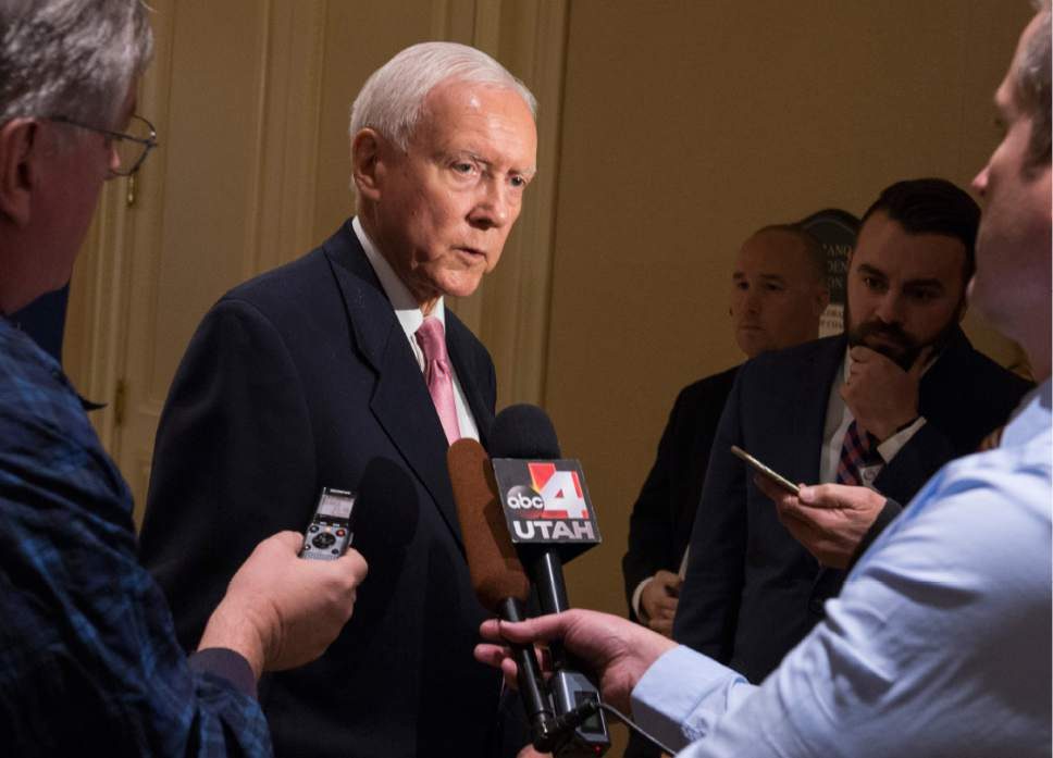 Rick Egan  |  The Salt Lake Tribune  Sen. Orrin Hatch answers a few questions from the media before giving the keynote address, at the U.S. Global Leadership Coalition luncheon, at the Grand America, Friday, November 18, 2016.