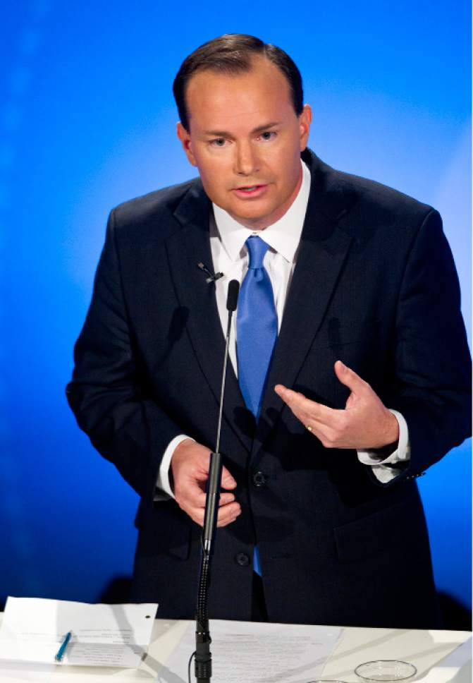 Isaac Hale     Pool Photo  Republican candidate Mike Lee answers a question during the U.S. Senate Debate on Wednesday, Oct. 12, 2016 at KBYU studios on the campus of Brigham Young University in Provo.
