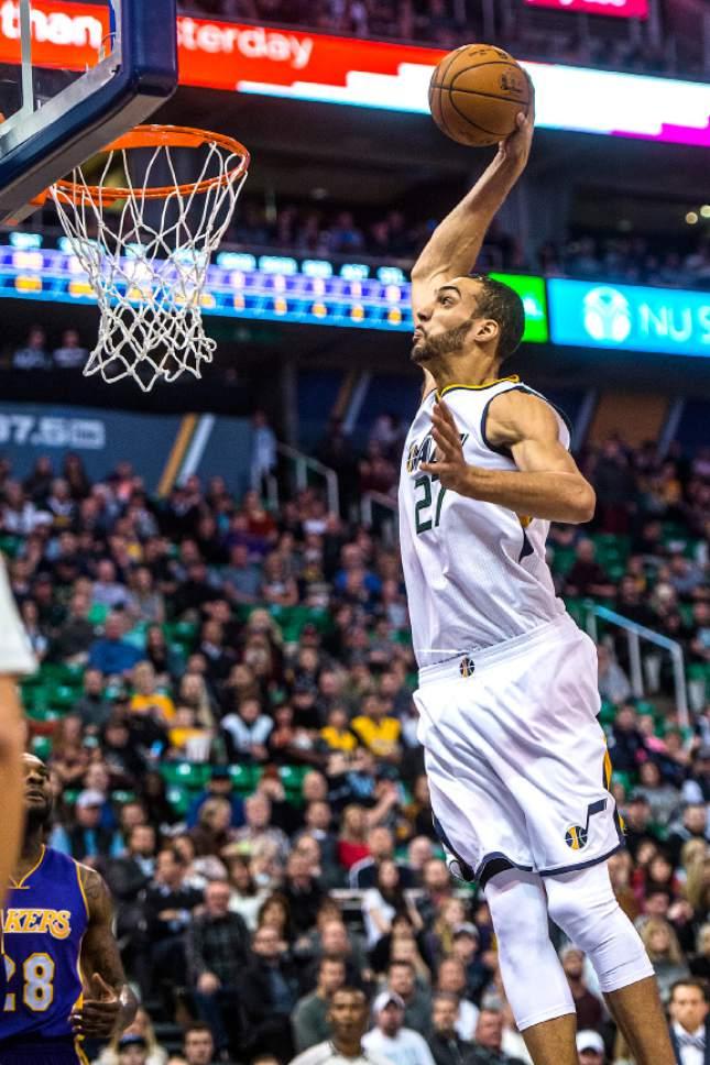 Chris Detrick  |  The Salt Lake Tribune Utah Jazz center Rudy Gobert (27) dunks the ball during the game at Vivint Smart Home Arena Thursday January 26, 2017.