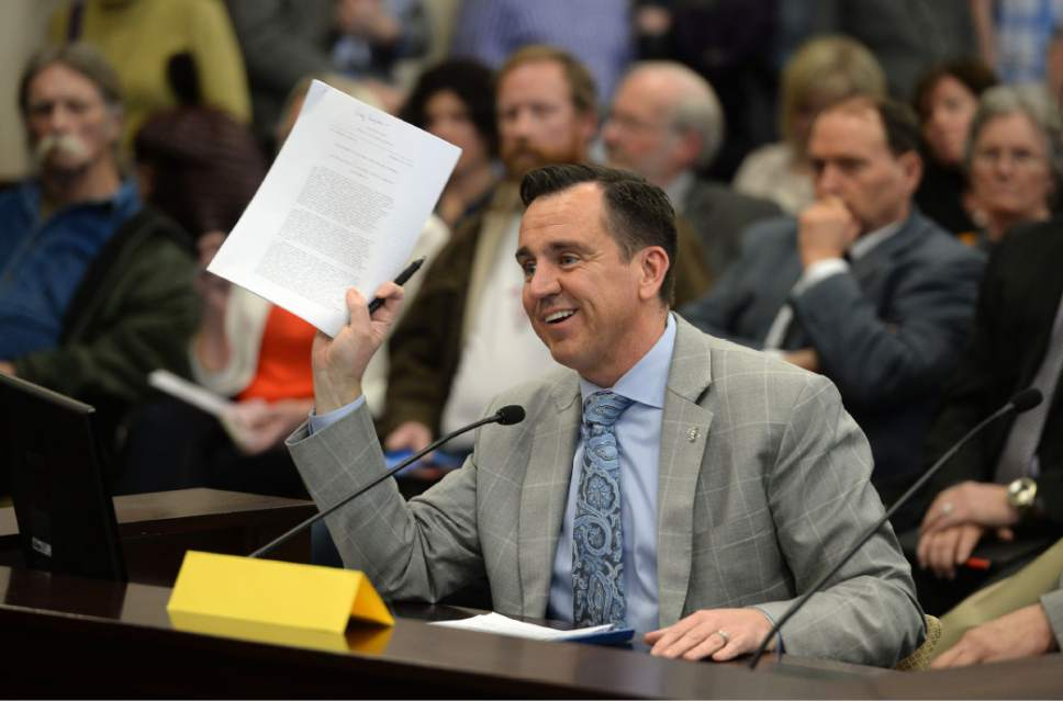 Steve Griffin  |  The Salt Lake Tribune House Speaker Greg Hughes, R-Draper, presents a resolution that urges the President of the United States to rescind the Bears Ears National Monument designation, to the Senate Natural Resources, Agriculture, and Environment Committee at the State Capitol in Salt Lake City Thursday February 2, 2017.