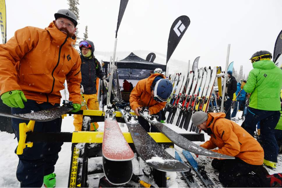 Steve Griffin / The Salt Lake Tribune  The Black Diamond booth was busy sizing skis and bindings for their guests during the Outdoor Retailer demo day at Solitude in Salt Lake City Monday January 9, 2017.