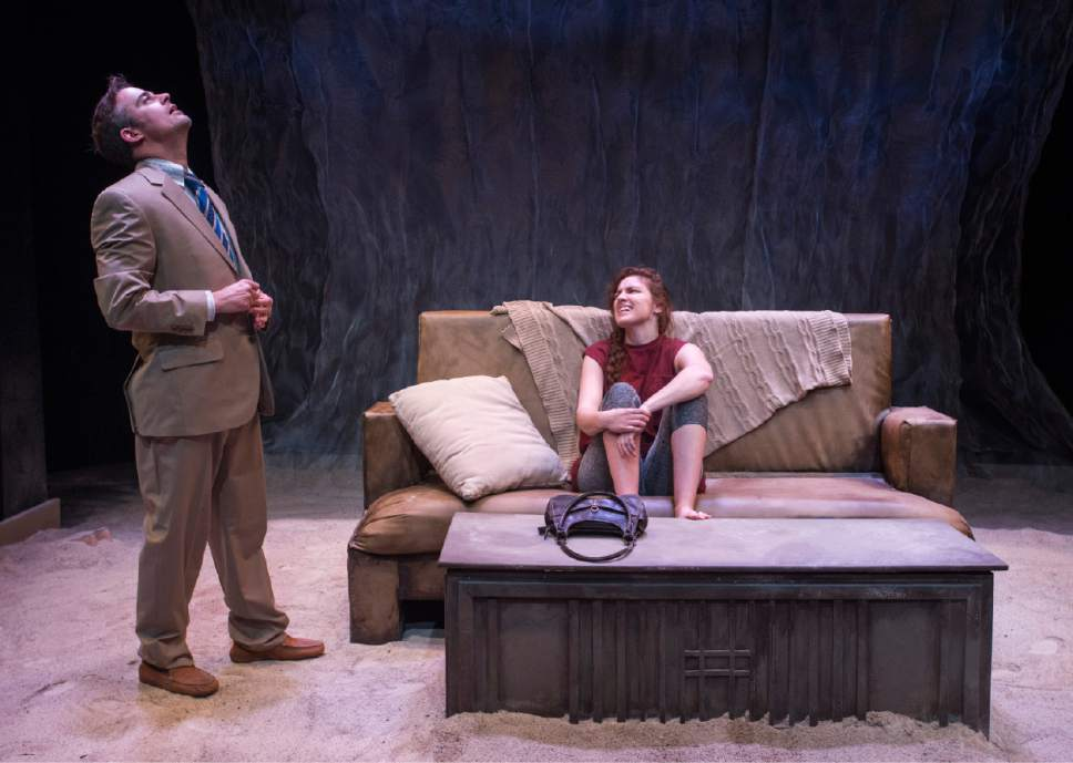 "Rick Egan  |  The Salt Lake Tribune  Mathew Sincell and Natalia Noble, in Kathleen Cahill's ""Harbur Gate,"" which will soon make  its world premiere at Salt Lake Acting Company."
