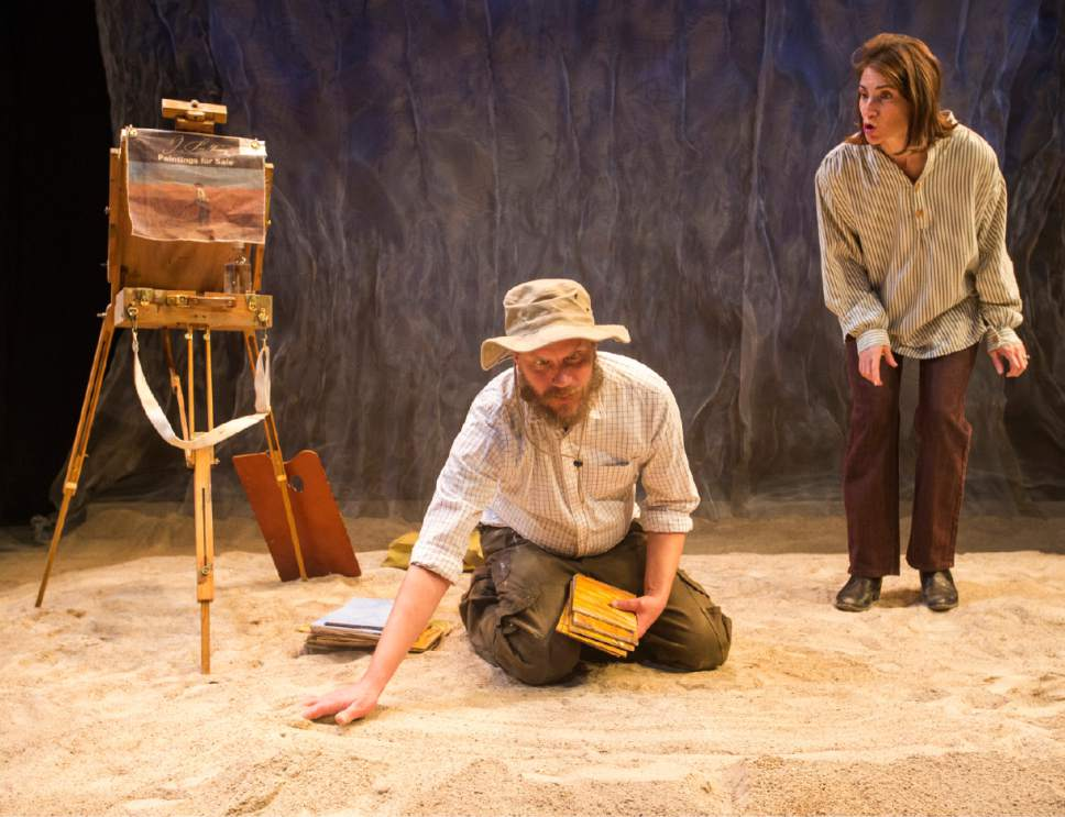 "Rick Egan  |  The Salt Lake Tribune  Lane Richins and Ariana Broumas Farber in Kathleen Cahill's  ""Harbur Gate,"" which will soon make  its world premiere at Salt Lake Acting Company."