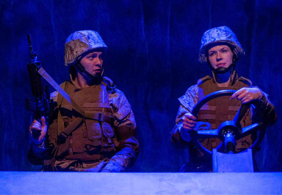 "Rick Egan  |  The Salt Lake Tribune  Topher Rasmussen and Cassandra Stokes-Wylie, in Kathleen Cahill's  ""Harbur Gate,"" which will soon make  its world premiere at Salt Lake Acting Company."