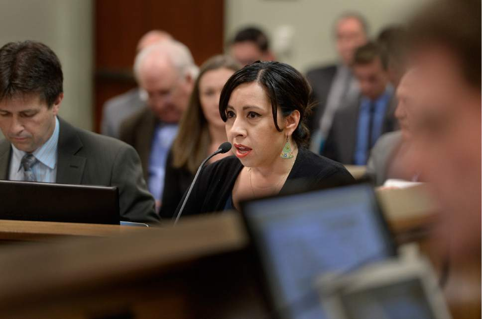 Scott Sommerdorf   |  The Salt Lake Tribune   Rep. Angela Romero, D-Salt Lake, presents her bill, HB200 - Sexual Assault Kit Processing Amendments - during a House Revenue and Taxations committee meeting at the Utah State Capitol complex, Wednesday, February 8, 2017.