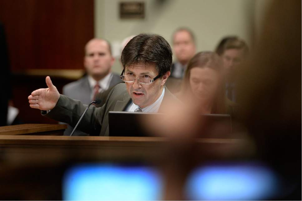 Scott Sommerdorf   |  The Salt Lake Tribune   Utah State Crime Lab Director Jay Henry speaks during committee hearing for HB200  - Sexual Assault Kit Processing Amendments - presented by Rep. Angela Romero, D-Salt Lake, during a House Revenue and Taxations committee meeting at the Utah State Capitol complex, Wednesday, February 8, 2017.
