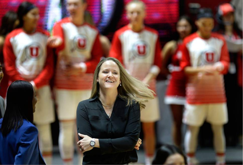 Scott Sommerdorf   |  The Salt Lake Tribune   Utah Utes head coach Lynne Roberts during pre game introductions prior to Washington State beating Utah 61-55, Sunday, February 5, 2017.