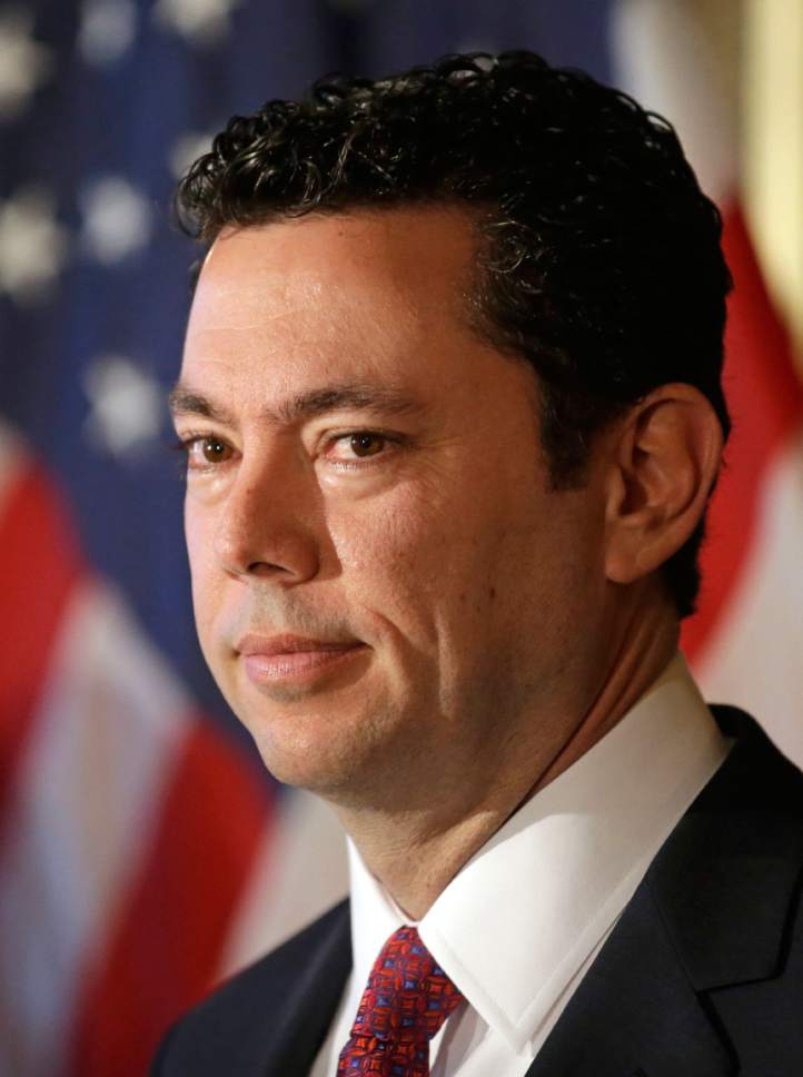 This Jan. 20, 2016, photo, U.S. Rep. Jason Chaffetz, R-Utah, speaks during news conference, in Salt Lake City. Chaffetz says he'll vote for Donald Trump, despite withdrawing his endorsement. The Republican chairman of the House oversight committee said in a tweet on Wednesday, Oct. 26, 2016, he'd doing it because he believes Democratic nominee Hillary Clinton is bad for the country, but he won't defend or endorse the Republican nominee. A spokeswoman confirmed the tweet Thursday. Chaffetz says a third-party candidate wouldn't have a serious chance of winning. (AP Photo/Rick Bowmer)