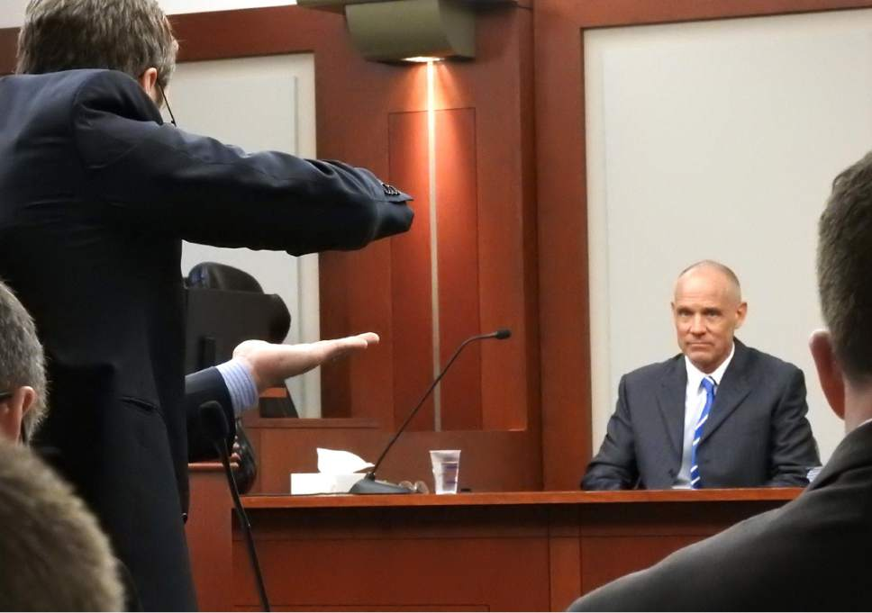 Rick Egan  |  The Salt Lake Tribune  Scott Williams cross-examines witness Marc Sessions Jenson, during the trial of former Utah Attorney General John Swallow at Matheson Courthouse, Thursday, February 9, 2017.