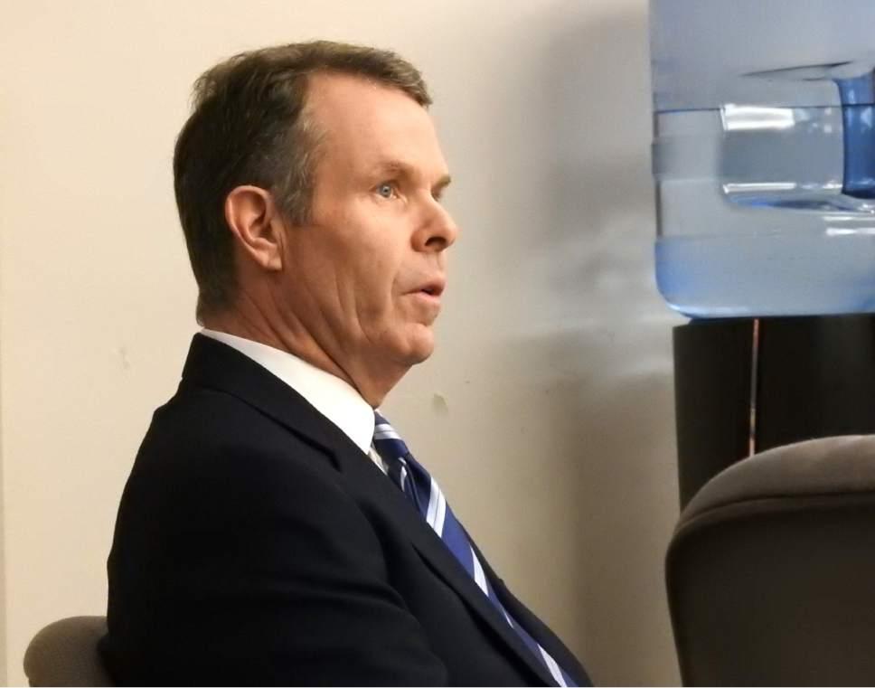 Rick Egan  |  The Salt Lake Tribune  John Swallow listens to court proceedings, at Matheson Courthouse, Thursday, February 9, 2017.