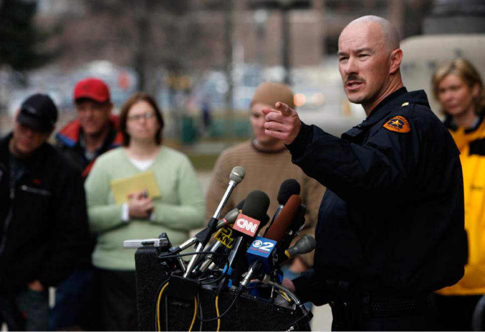 Francisco Kjolseth  |  The Salt Lake Tribune  Salt Lake City police department Chief of Police, Chris Burbank answers questions from the media during a press conference outside of the City County Building on Tuesday  February 13, 2007, the day after the deadly shootings at Trolley Square.