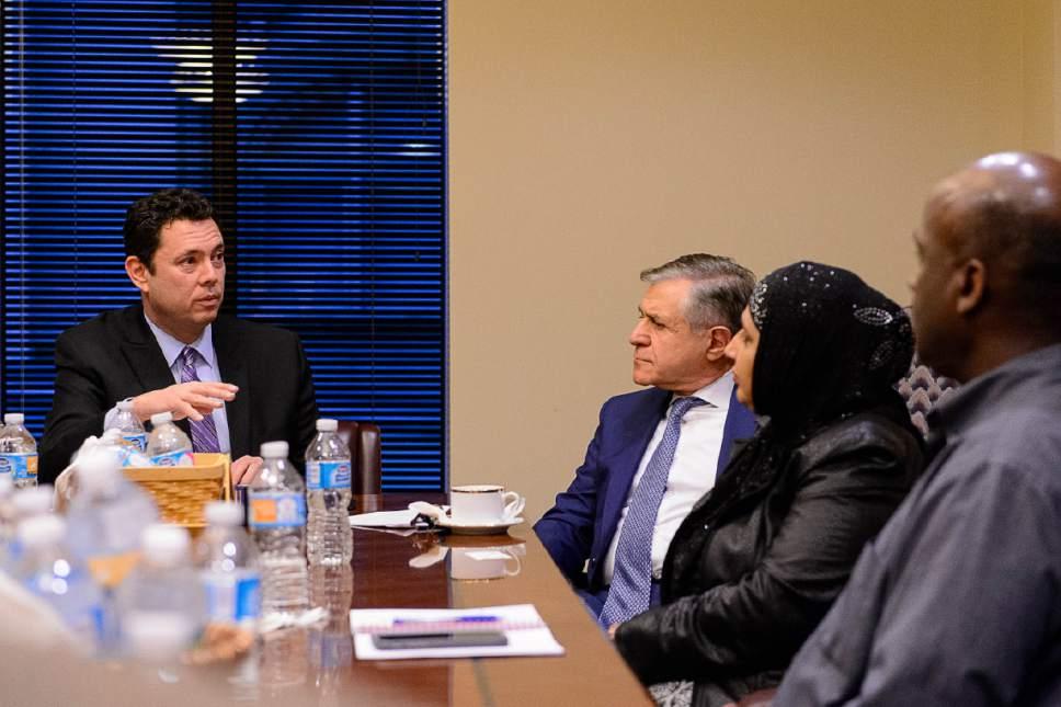 Trent Nelson  |  The Salt Lake Tribune U.S. Rep. Jason Chaffetz, R-Utah, meets with members of Utah's Islamic Community in Salt Lake City, Wednesday February 8, 2017. Left to right, Chaffetz, Khosrow Semnani, Noor Ul-Hasan, Aden Batar.