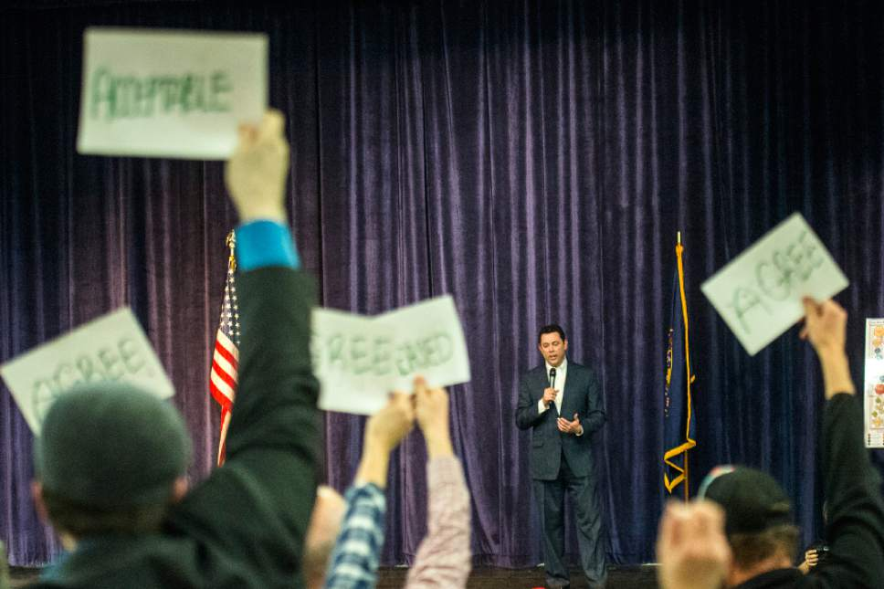 Chris Detrick  |  The Salt Lake Tribune U.S. Rep. Jason Chaffetz, R-Utah, speaks during the town-hall meeting in Brighton High School Thursday February 9, 2017.