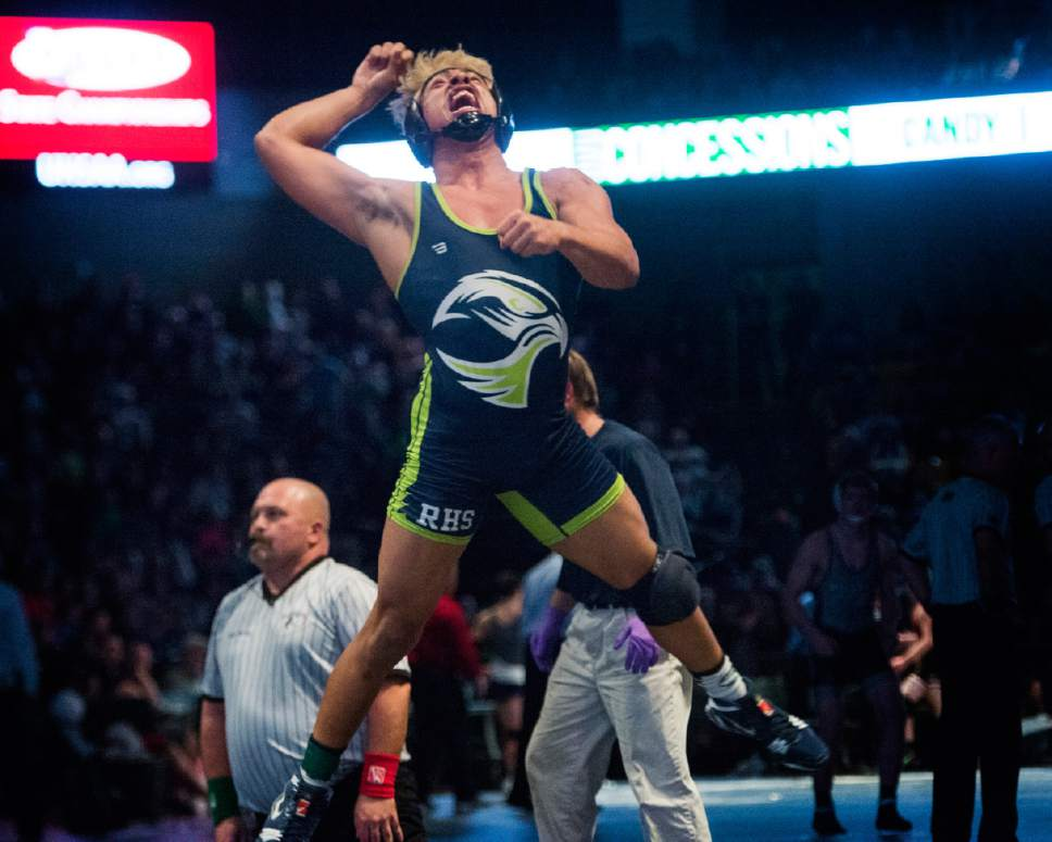 Rick Egan  |  The Salt Lake Tribune  Conner Wengreen of Ridgeline celebrates his victory over Bryken Jensen of Bear River in the 160 division, in the 3A state wrestling finals at UVU, Saturday, February 11, 2017.