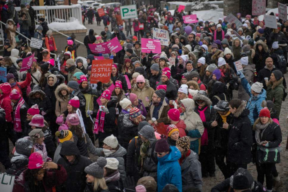 "Protestors participate in the ""Women's March On Main"" during the 2017 Sundance Film Festival on Saturday, Jan. 21, 2017, in Park City, Utah. (Photo by Arthur Mola/Invision/AP)"