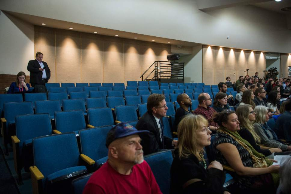 Chris Detrick  |  The Salt Lake Tribune Empty seats remain after the doors were closed during the town-hall meeting with U.S. Rep. Jason Chaffetz, R-Utah, in Brighton High School Thursday February 9, 2017.