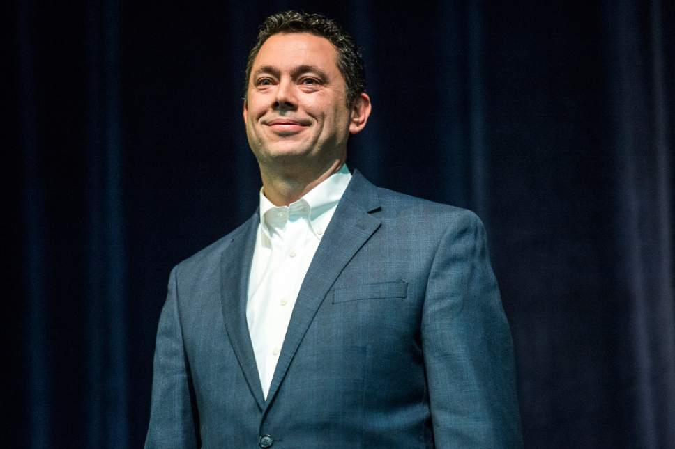 """Chris Detrick     Tribune file photo U.S. Rep. Jason Chaffetz, R-Utah, listens to a question during the town-hall meeting in Brighton High School Thursday February 9, 2017. Chaffetz said that the nation's poor may have to forego things like """"that new iPhone they just love and want to go spend hundreds of dollars on"""" in order to pay for health care. The comment led to a swift backlash."""