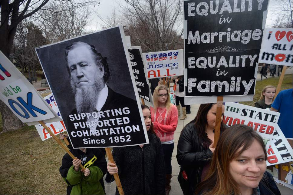 Scott Sommerdorf   |  The Salt Lake Tribune   Polygamists and their supporters assembled at City Creek Park prior to their march to the Capitol where they held a rally, Friday, February 10, 2017.