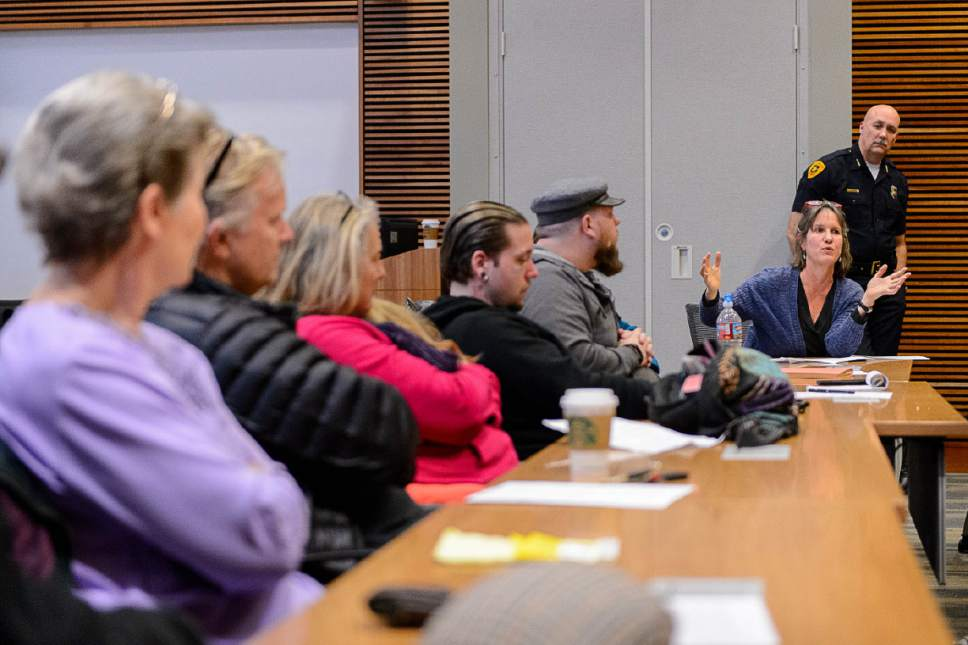 Trent Nelson  |  The Salt Lake Tribune Salt Lake City Police Chief Mike Brown meets with the  Community Activist Group last month. The CAG meets with police and city representatives every other week.