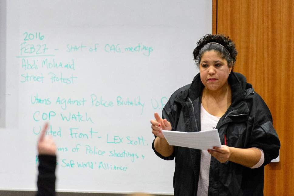 Trent Nelson  |  The Salt Lake Tribune Activist Lex Scott at a meeting of the Community Activist Group, Wednesday January 18, 2017. The CAG meets with police and city representatives every other week.