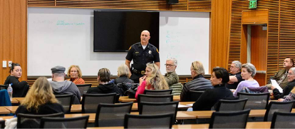 Trent Nelson  |  The Salt Lake Tribune Salt Lake City Police Chief Mike Brown meets with the  Community Activist Group, Wednesday January 18, 2017. The CAG meets with police and city representatives every other week.