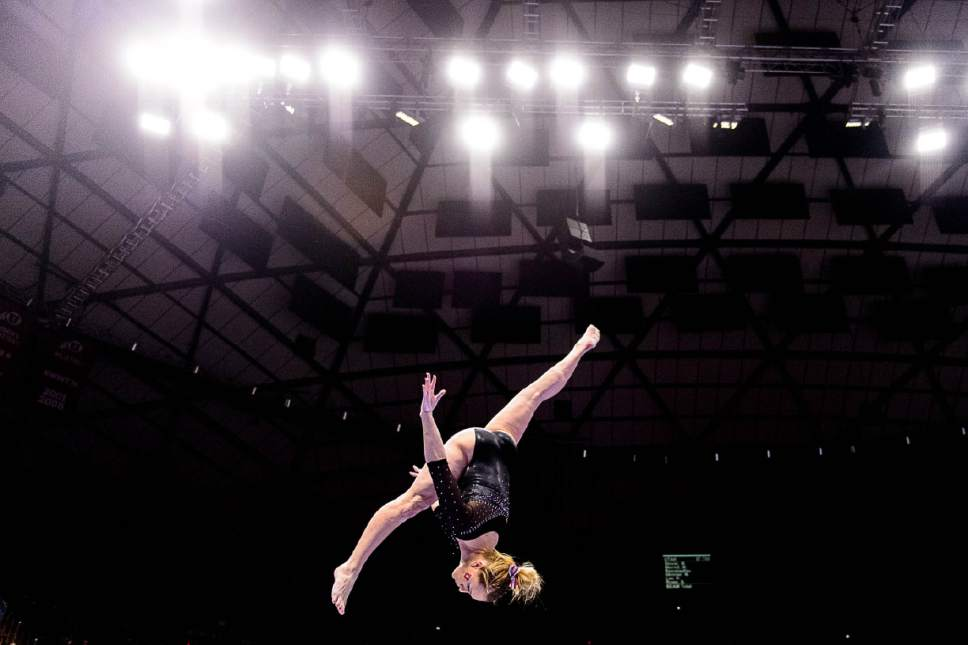Trent Nelson  |  The Salt Lake Tribune Utah's Maddy Stover on the beam as the University of Utah hosts Cal, NCAA Gymnastics at the Huntsman Center, Saturday February 4, 2017.