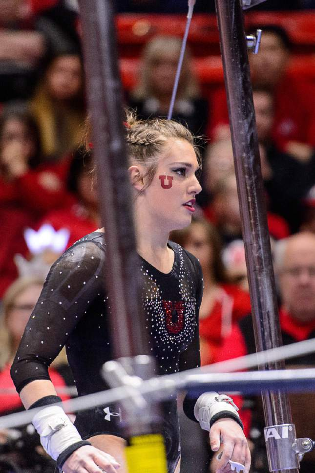 Trent Nelson  |  The Salt Lake Tribune Utah's Baely Rowe on the bars as the University of Utah hosts Cal, NCAA Gymnastics at the Huntsman Center, Saturday February 4, 2017.