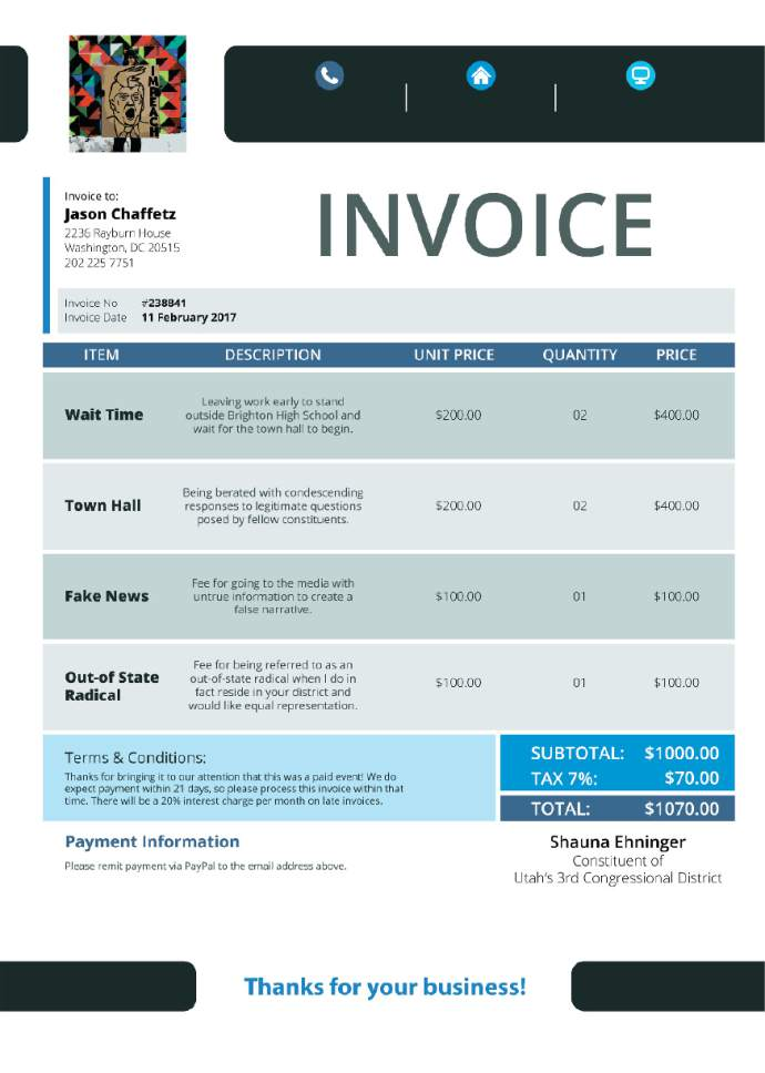 An invoice sent to Jason Chaffetz's office. Some Utahns have begun to send invoices to the congressman in response to his claim that paid protesters infiltrated his town-hall meeting last week.