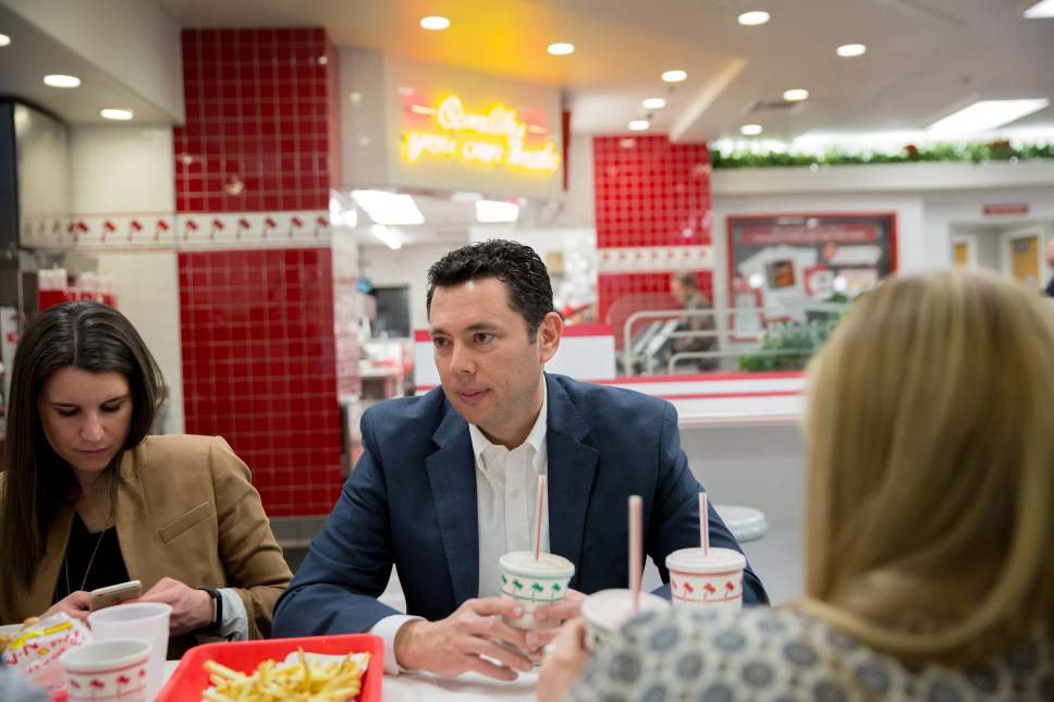 Kim Raff  |  For The Washington Post Rep. Jason Chaffetz, R-Utah, has lunch with his staff at In-N-Out Burger after a tumultuous Thursday (Feb. 9, 2017) town hall at Brighton High School.