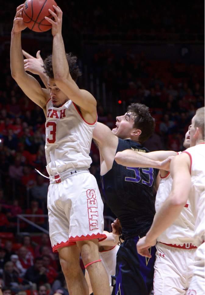 Leah Hogsten     The Salt Lake Tribune Utah Utes guard Devon Daniels (3) had 8 rebounds and 16 points. University of Utah's men's basketball team defeated University of Washington, 85-61 during their game, February 11, 2017 at Utah's Jon M. Huntsman Center.