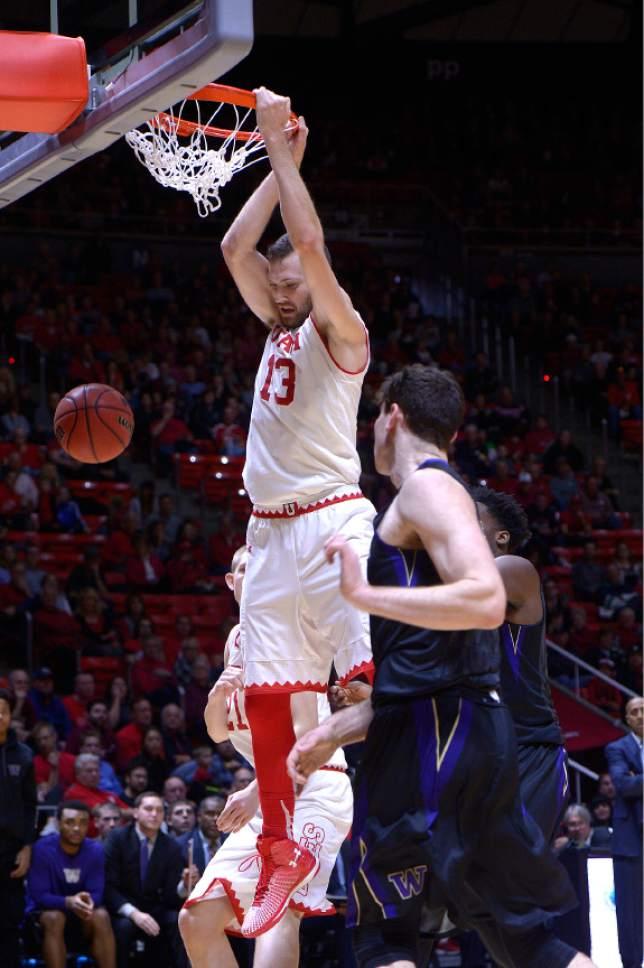 Leah Hogsten     The Salt Lake Tribune Utah Utes forward David Collette (13) with the dunk. University of Utah's men's basketball team leads University of Washington, 44-28 at halftime, February 11, 2017 at Utah's Jon M. Huntsman Center.