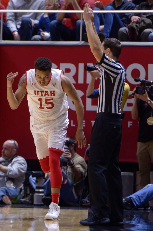 Leah Hogsten     The Salt Lake Tribune Utah Utes guard Lorenzo Bonam (15) hit three 3-point shots. University of Utah's men's basketball team defeated University of Washington, 85-61 during their game, February 11, 2017 at Utah's Jon M. Huntsman Center.