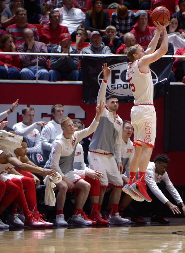 Leah Hogsten     The Salt Lake Tribune Utah Utes guard Parker Van Dyke (5) hit four 3-pointers. University of Utah's men's basketball team defeated University of Washington, 85-61 during their game, February 11, 2017 at Utah's Jon M. Huntsman Center.