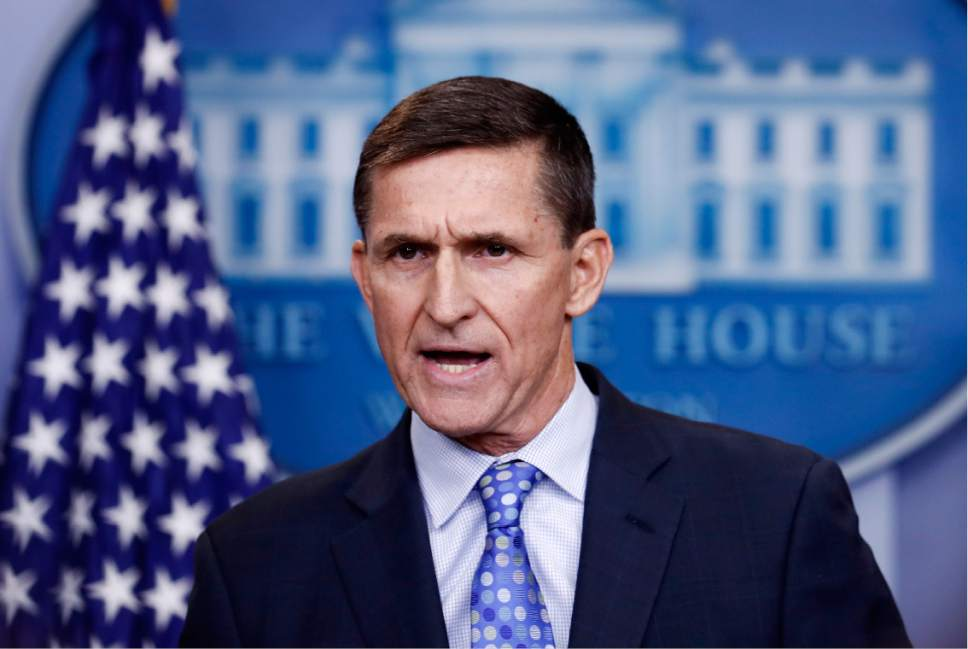 FILE- In this Feb. 1, 2017, file photo, National Security Adviser Michael Flynn speaks during the daily news briefing at the White House, in Washington. Flynn resigned as President Donald Trump's national security adviser Monday, Feb. 13, 2017. (AP Photo/Carolyn Kaster, File)