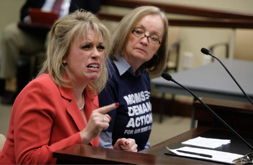 Francisco Kjolseth   The Salt Lake Tribune Heather Wolsey, left, gives emotional testimony as she recounts how her ex-husband almost killed her as she speaks in support of HB237, before lawmakers shot down the bill that sought to allow carrying concealed guns in Utah without a permit. At right is Trolley Square survivor Anne Bagley, of Moms Demand Action for Gun Sense in America who opposed the bill.