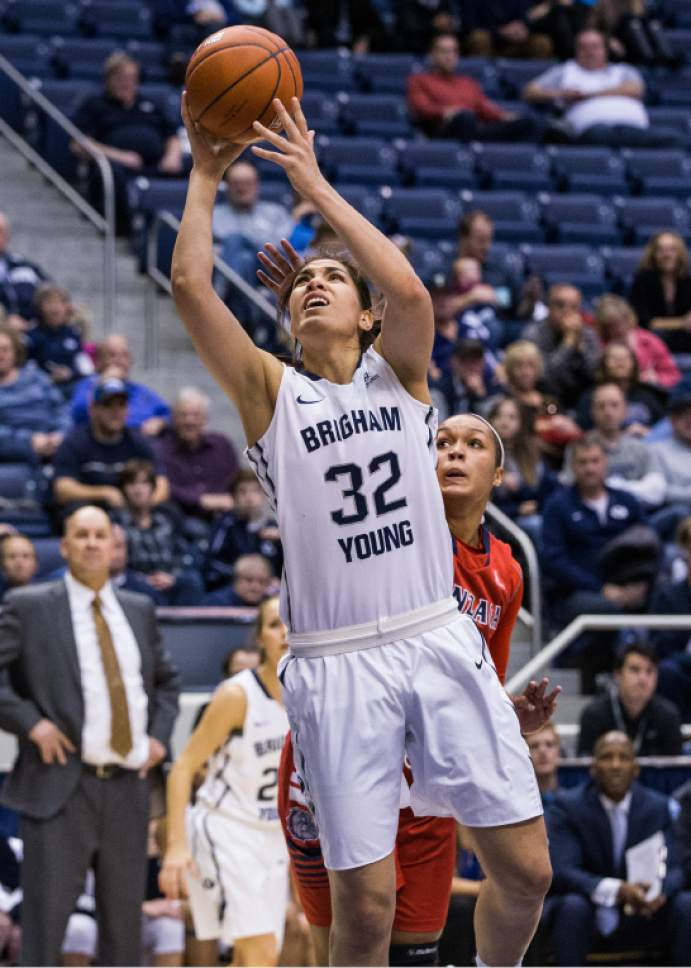 Mark A. Philbrick  |  BYU  BYU's Kalani Purcell takes a shot vs Gonzaga on January 14, 2016. BYU lost the game 58-54.