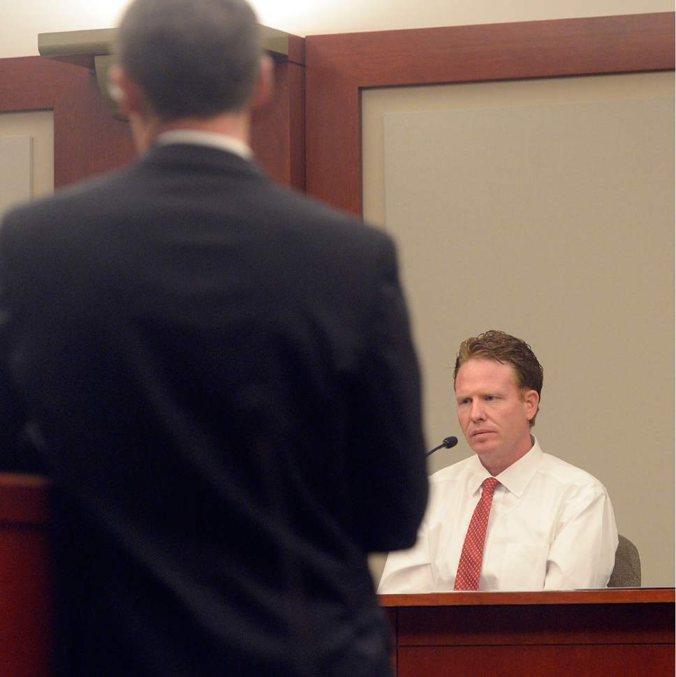 Al Hartmann  |  The Salt Lake Tribune Jeremy Johnson pleads the 5th amendment and declines to testify in John Swallow's public corruption trail in Salt Lake City Wed. Feb. 15.