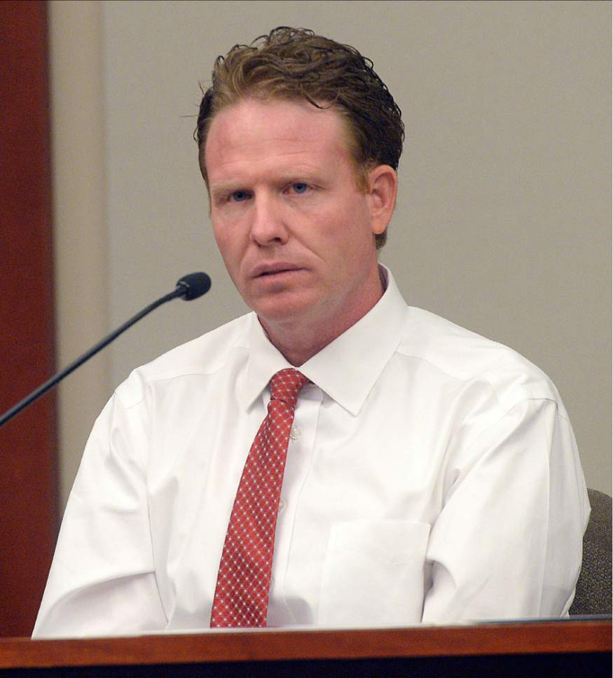 Al Hartmann  |  The Salt Lake Tribune Jeremy Johnson takes the 5th amendment and declines to testify in John Swallow's public corruption trial in Salt Lake City Wednesday Feb. 15.  He was placed in contempt of court.