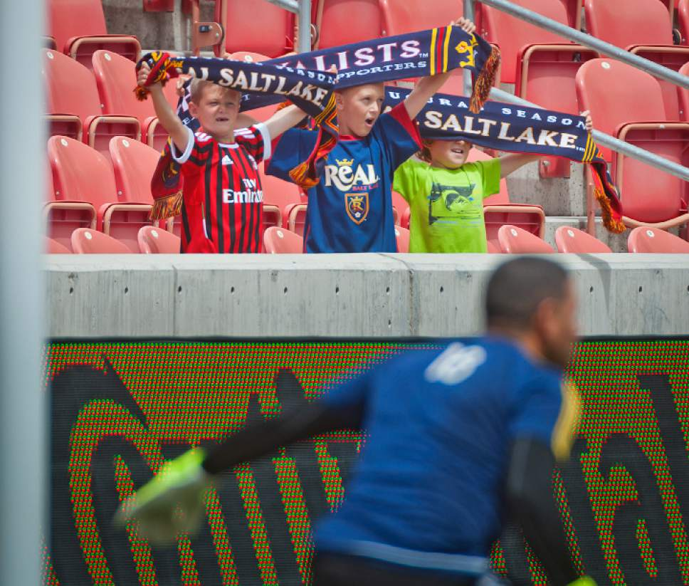 Michael Mangum  |  Special to the Tribune  Young Real Salt Lake Fans cheer as goalkeeper Nick Rimando warms up before the beginning of the match against the Colorado Rapids at Rio Tinto Stadium on Sunday, June 7, 2015.