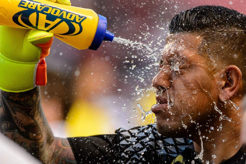 Trent Nelson  |  The Salt Lake Tribune Real Salt Lake goalkeeper Nick Rimando (18) goes through his pre-game ritual of spraying water on his face as Real Salt Lake hosts the Los Angeles Galaxy, MLS soccer at Rio Tinto Stadium in Sandy, Wednesday September 7, 2016.